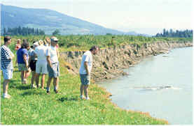 Fluvial Geomorphologist John Field with students on a field trip.